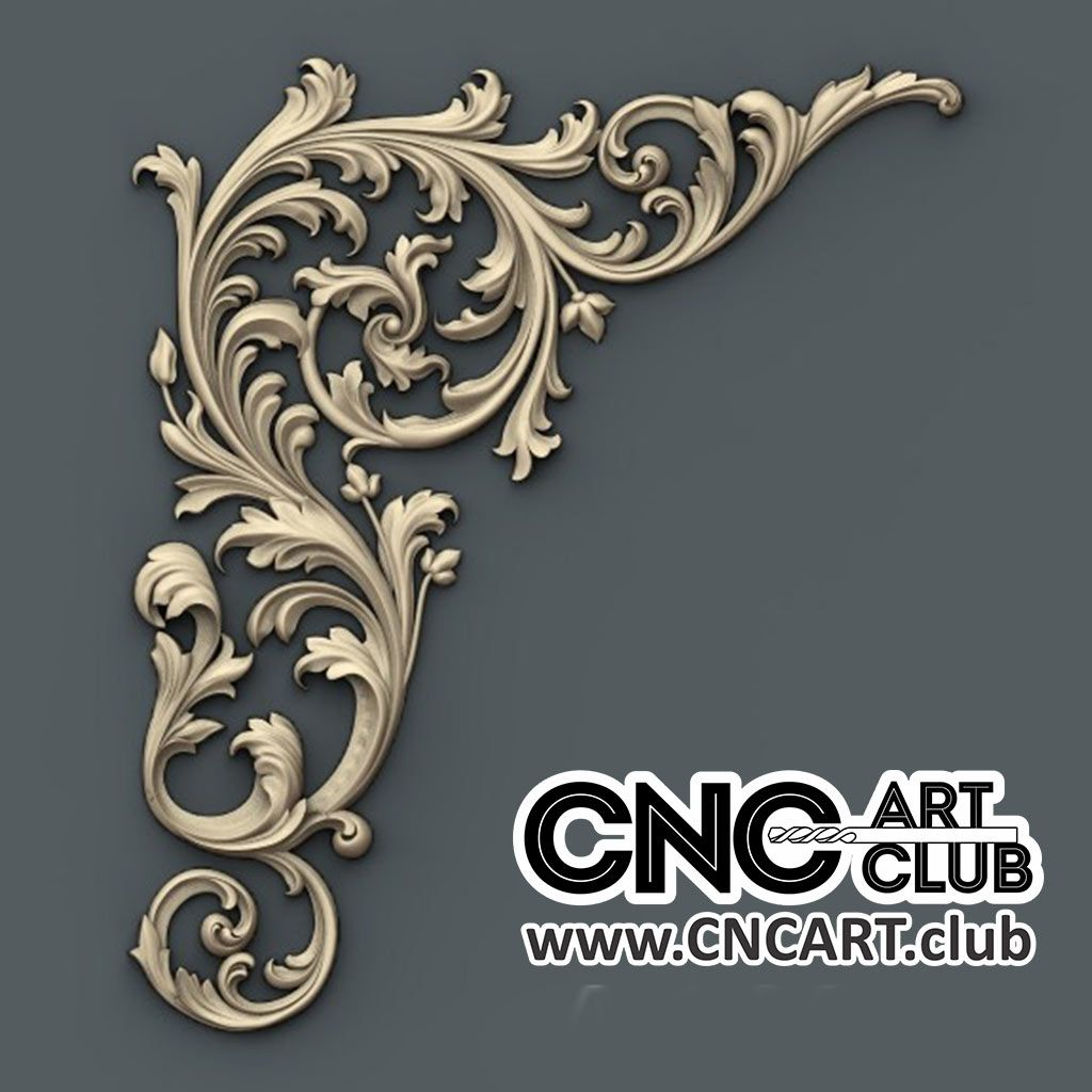 Corner 1012 Floral Decorative Design For CNC Machine Work