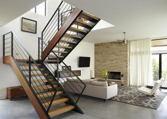 nice treppengeländer design metall schwarz wohnzimmer offener - wohnzimmer design schwarz