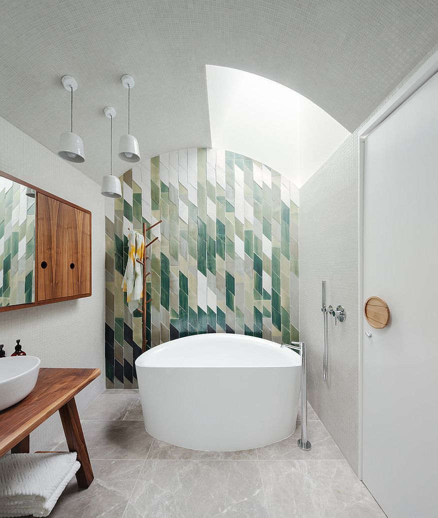 How to create a feature wall with photos - Snazzy Green Tiles Used To Create An Awesome Feature Wall In The Bathroom Decoist