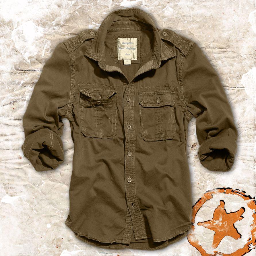 Brandit Vintage Shirt Long Sleeve Cotton Mens Outdoor Tactical Hiking Olive