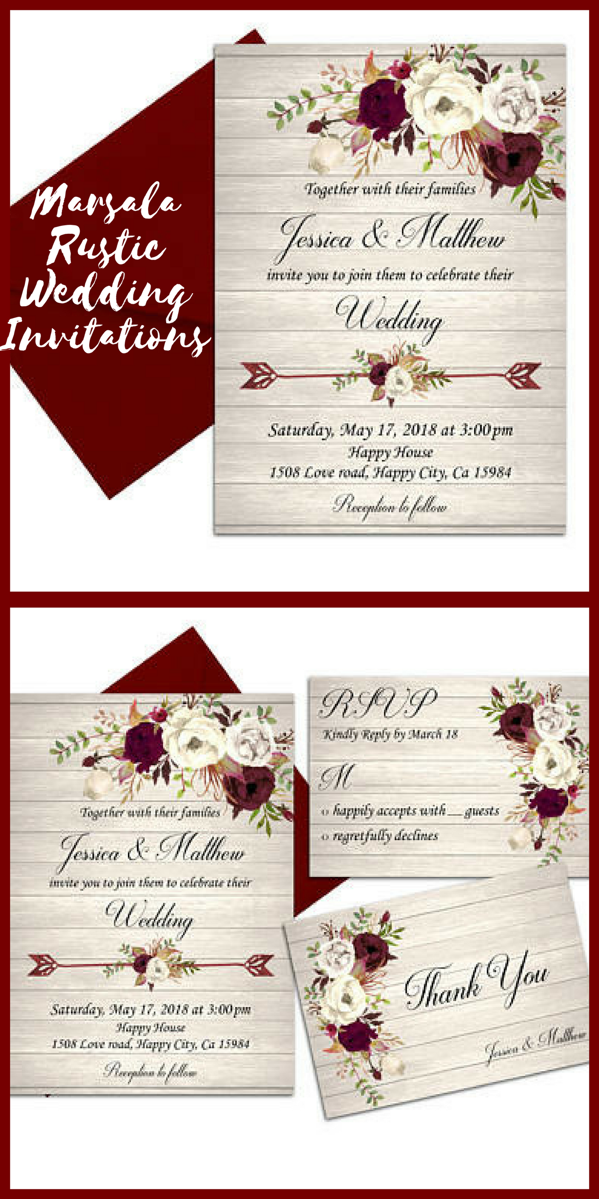 Marsala Wedding Invitation Ivory Rustic Wedding Invitation Printable ...