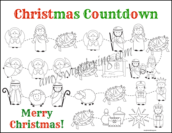 photograph regarding Free Printable Christmas Story called Nativity and Santa Xmas Countdown Printables Nativity