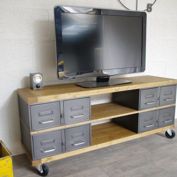 meuble tv métal et bois Idées de Meuble Pinterest Salons