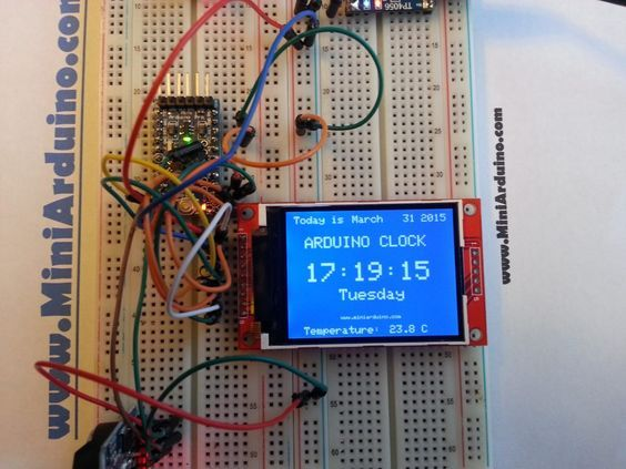 ARDUINO TFT RTC I2C DIGITAL CLOCK DS3231 WITH TEMPERATURE
