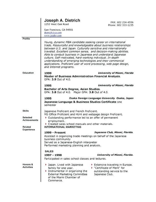 Free Resume Templates Windows 7 Pinterest Sample resume, Resume