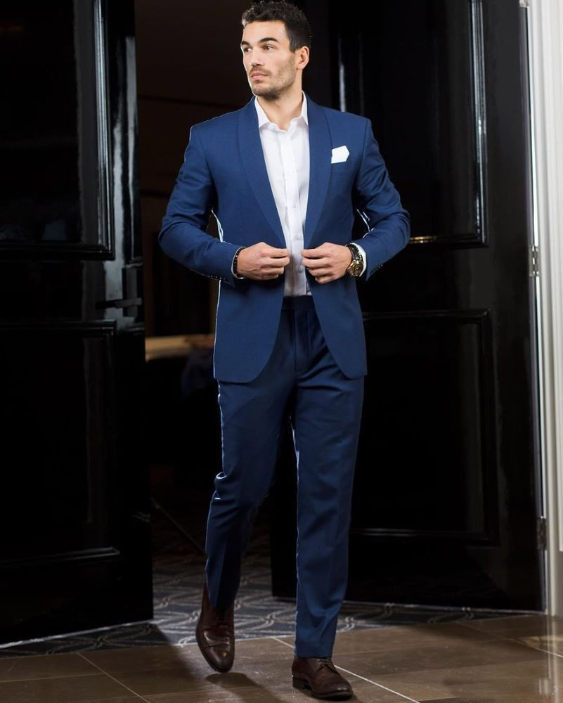Blue wedding suits for men slim fit bridegroom tuxedos pieces