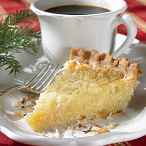 Best pie in the world: Butter Coconut Pie, 1 cup sugar  1 tablespoon all-purpose flour $  3 large eggs, lightly beaten $  1 (3.5-ounce) can sweetened flaked coconut  1/2 cup evaporated milk  1/3 cup butter or margarine, melted $  1 teaspoon vanilla extract