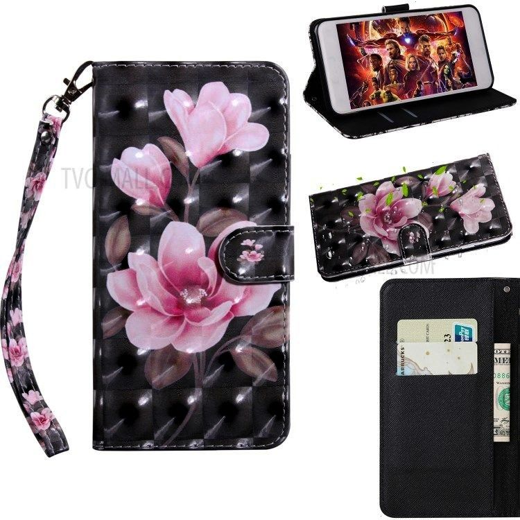 Spot Decor Patterned Leather Wallet Case for Samsung Galaxy A51 - Pink Flowers Light Spot Decor Pat