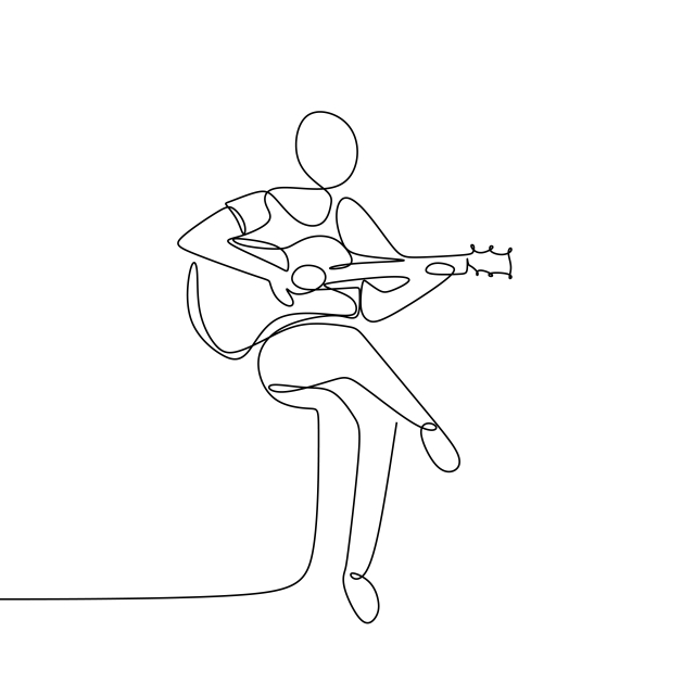 Person Sing A Song With Acoustic Guitar Continuous One Line Art Drawing Vector Illustration Minimalist Desi Line Art Drawings Music Drawings Minimalist Drawing