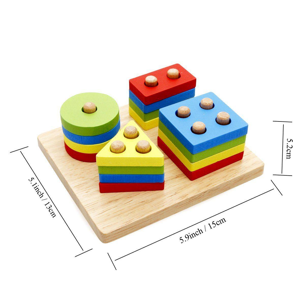 Wooden Educational Preschool Shape Color Geometric Board Block Chunky Puzzle H