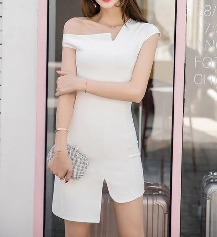 off shoulder bodycon dress in white