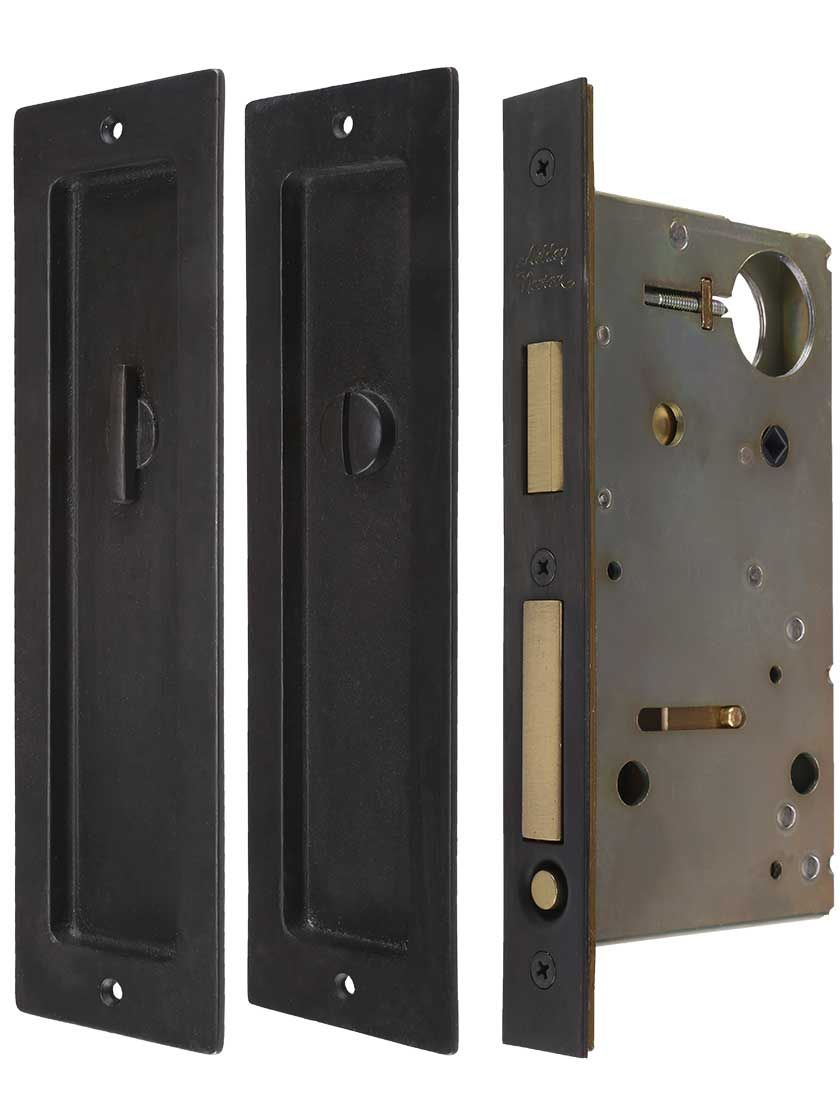 on privacy pocket door mortise lock set with rectangular pulls
