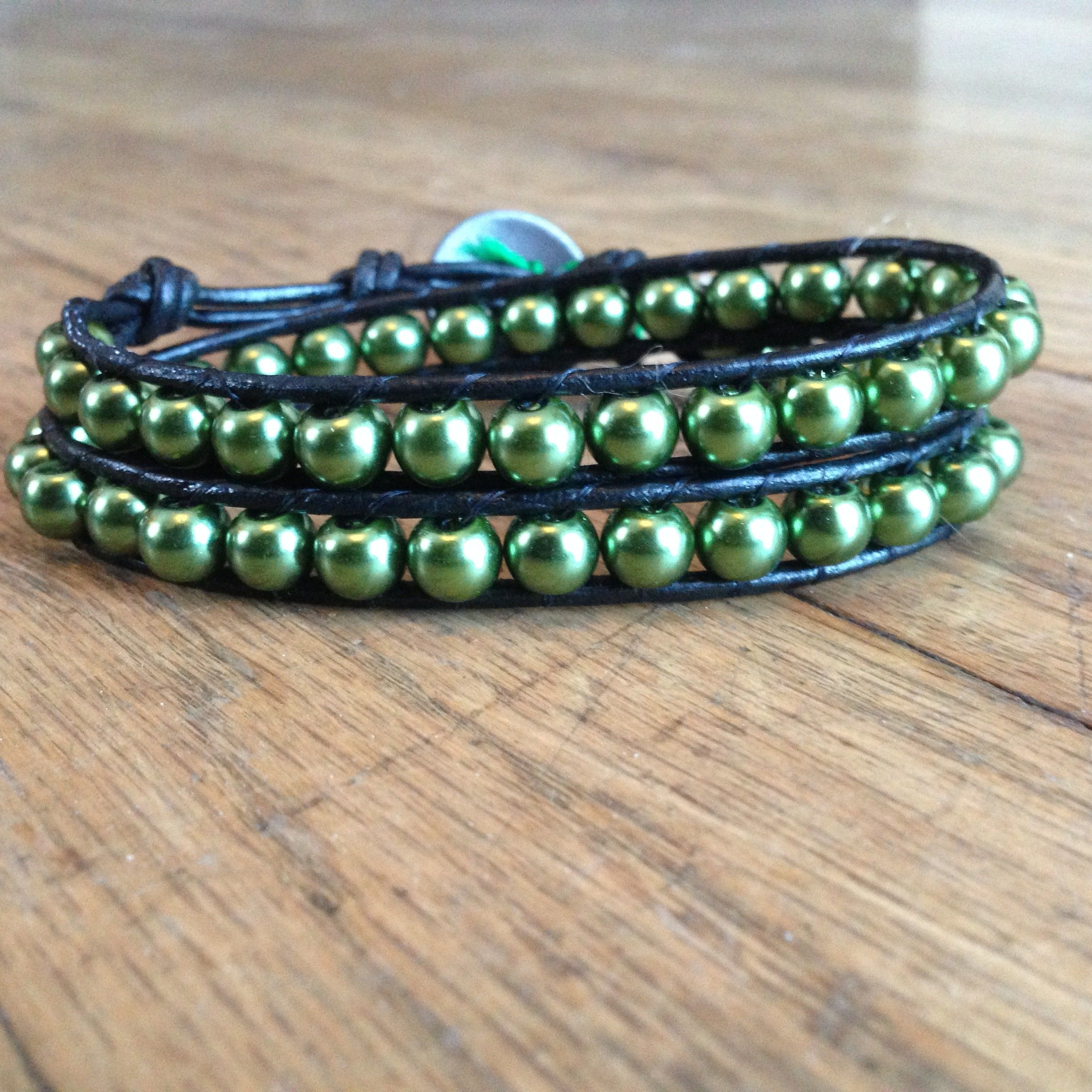 Anahata Heart Chakra Balancing Leather Wrap Bracelet With Glass Pearls  by Lexirina Jewelry