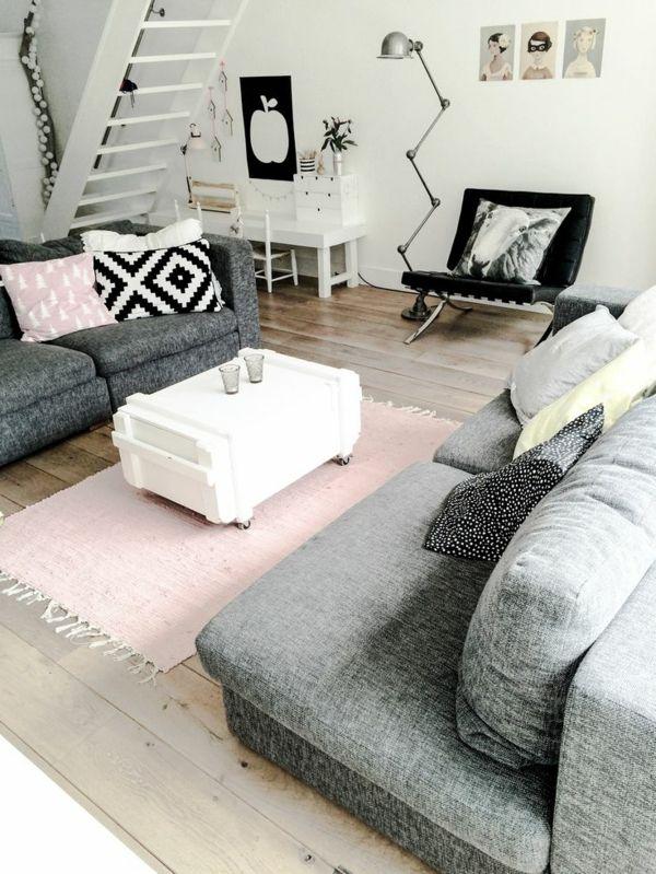 moderne wohnzimmergestaltung stylisch tipps rosa läufer Wohnung - moderne wohnzimmergestaltung