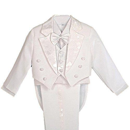 Dressy Daisy Baby Boys Tuxedo Classic Fit Formal Suits 5 Pcs Set Jacquard Cummerbund