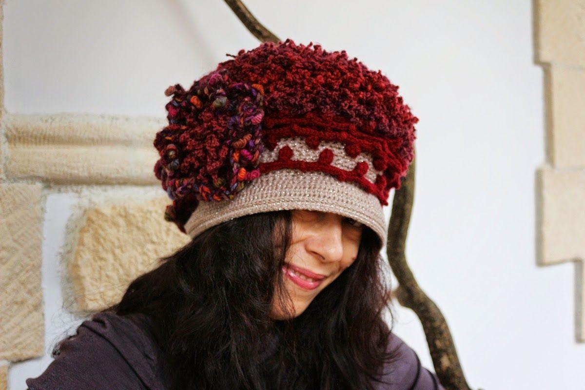 uncinetto moda e fantasia: cappellino in lana, mohair e acrilico, lavorazione...