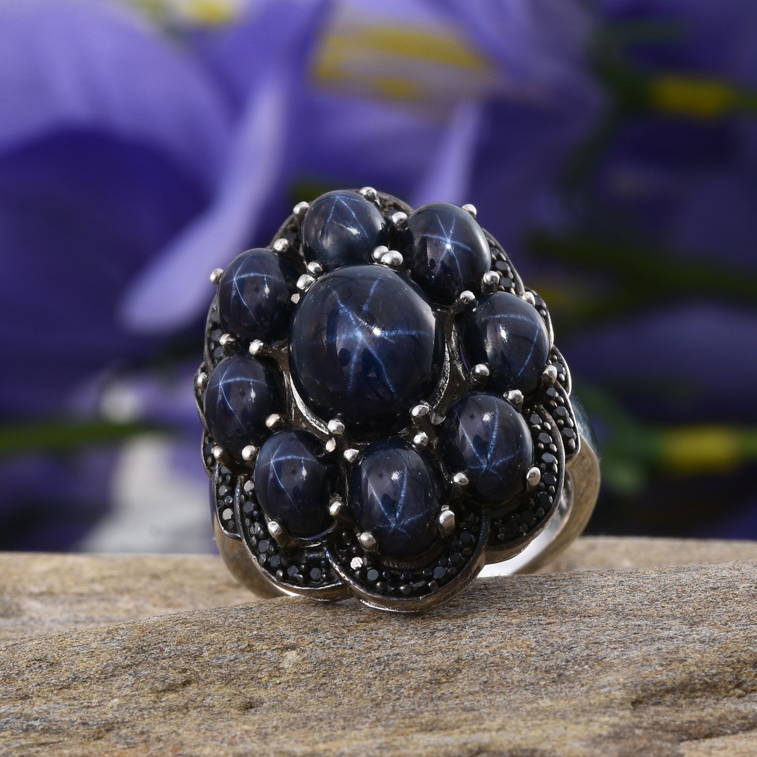 ring genuine star cut sapphire silver rings stone multi white blue sapphires gold and oval sterling solid