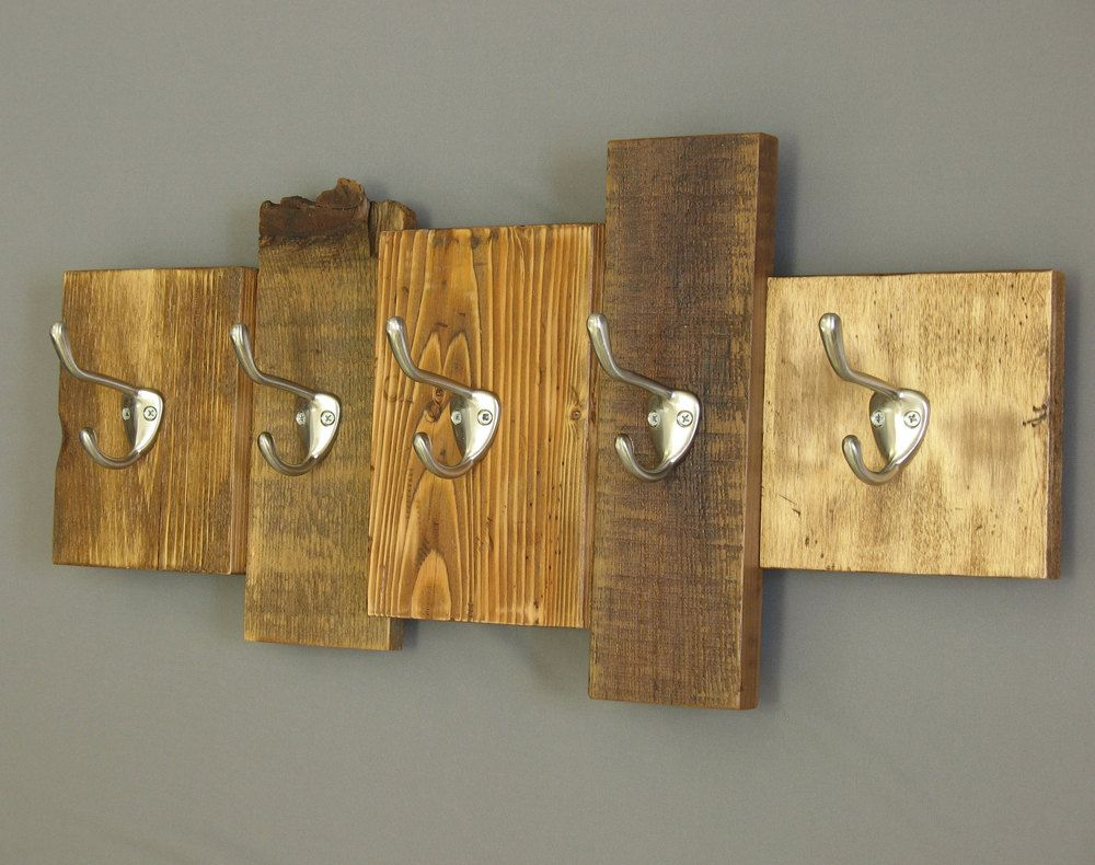 Wooden Coat Rack Reclaimed Wood Cabin Decor Wall Mounted