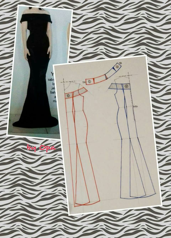 Long dress pattern off shoulder sleeves pattren pinterest long