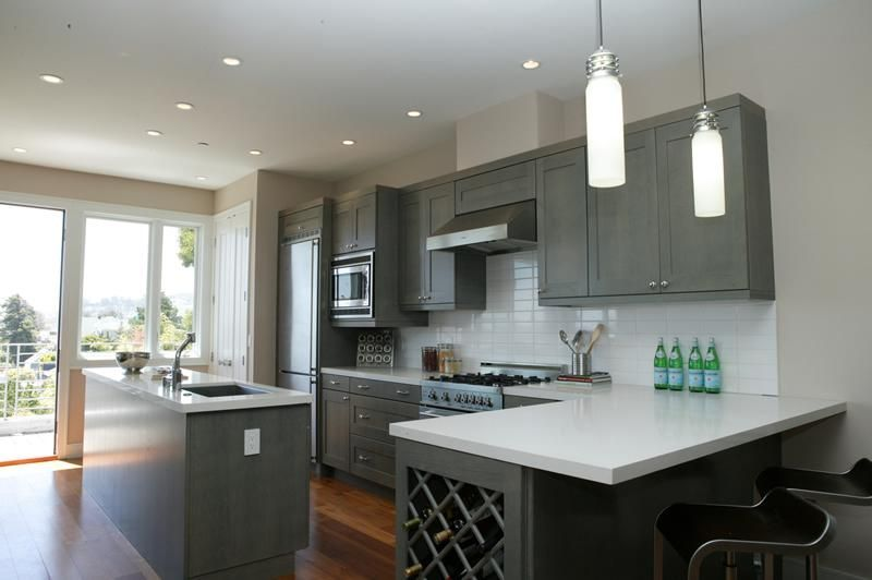 Kitchen Grey Two Line Cabinet Under Ceiling Mounted Exractor Hood Among Wall Modern Dark Cabinets