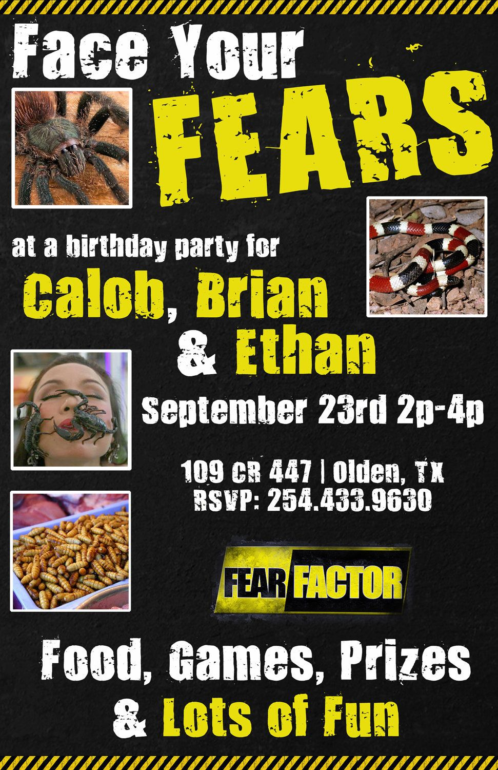 Fear Factor Printable Invite by LucidInvites on Etsy 1800 – Fear Factor Party Invitations