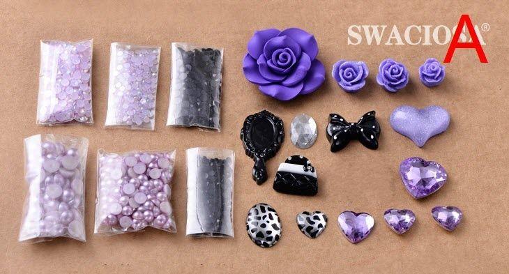 Dark Purple Lolita Style Flatback Scrapbooking DIY Phone Case Cover Deco Kits | eBay