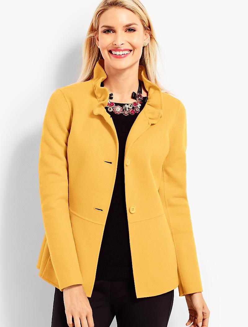 Ruffle Neck Double Face Jacket Talbots Fashion Clothes Jackets [ 1057 x 800 Pixel ]