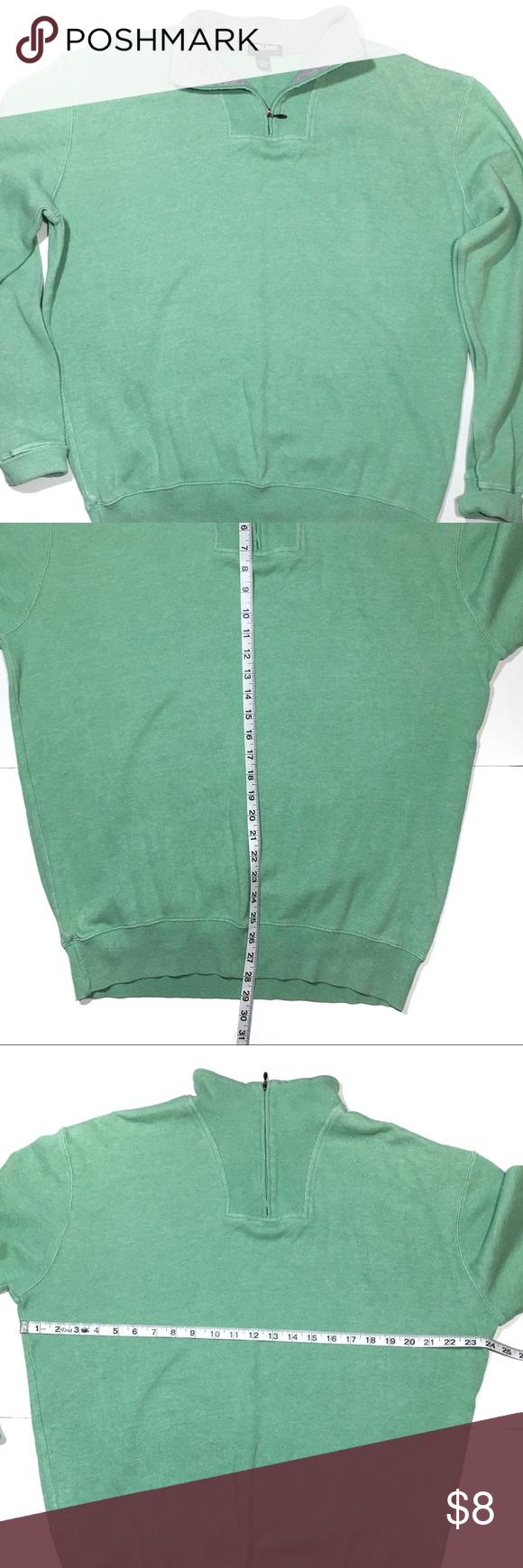 Large, Green Kirkland Mens Cotton Quarter Zip Pullover