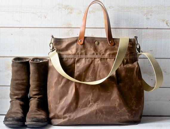 64add1e768a2 Unisex Waxed Canvas Leather bag / Messenger bag / Tote / Diaper bag /  Leather straps / Women messenger / Travel bag / Vogue / Fall Fashion