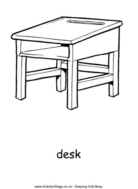 Desk Colouring Page Colorful Table Coloring Pages Coloring