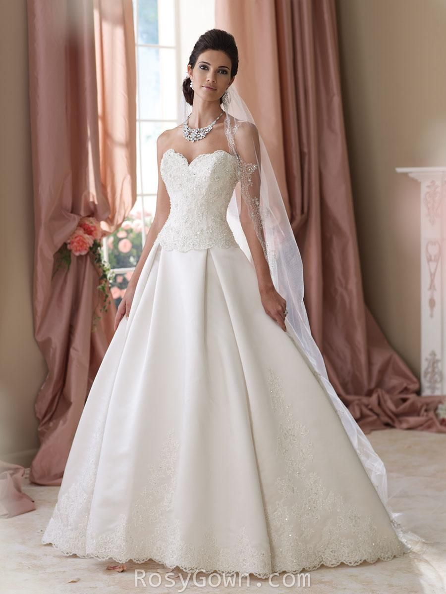 Strapless Scalloped Sweetheart Crystals Satin Ball Gown Wedding Dress at Rosygown.com