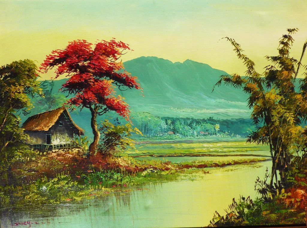 Colorful Landscape Oil Painting Of Tropical Asian Scene 400 x 300