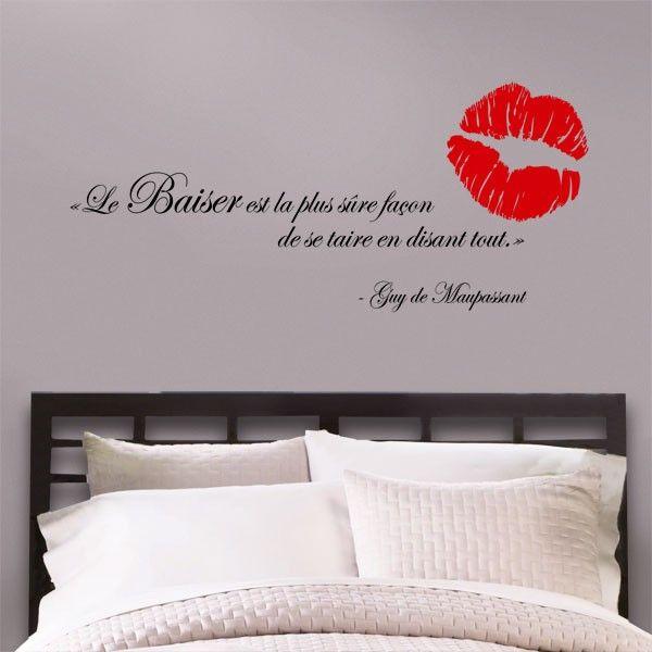 Ordinary Stickers Muraux Pour Chambre Adulte #7: Lettrage Mural «Le Baiser Est La Plus Sûre Façon De Se Taire En Disant Tout