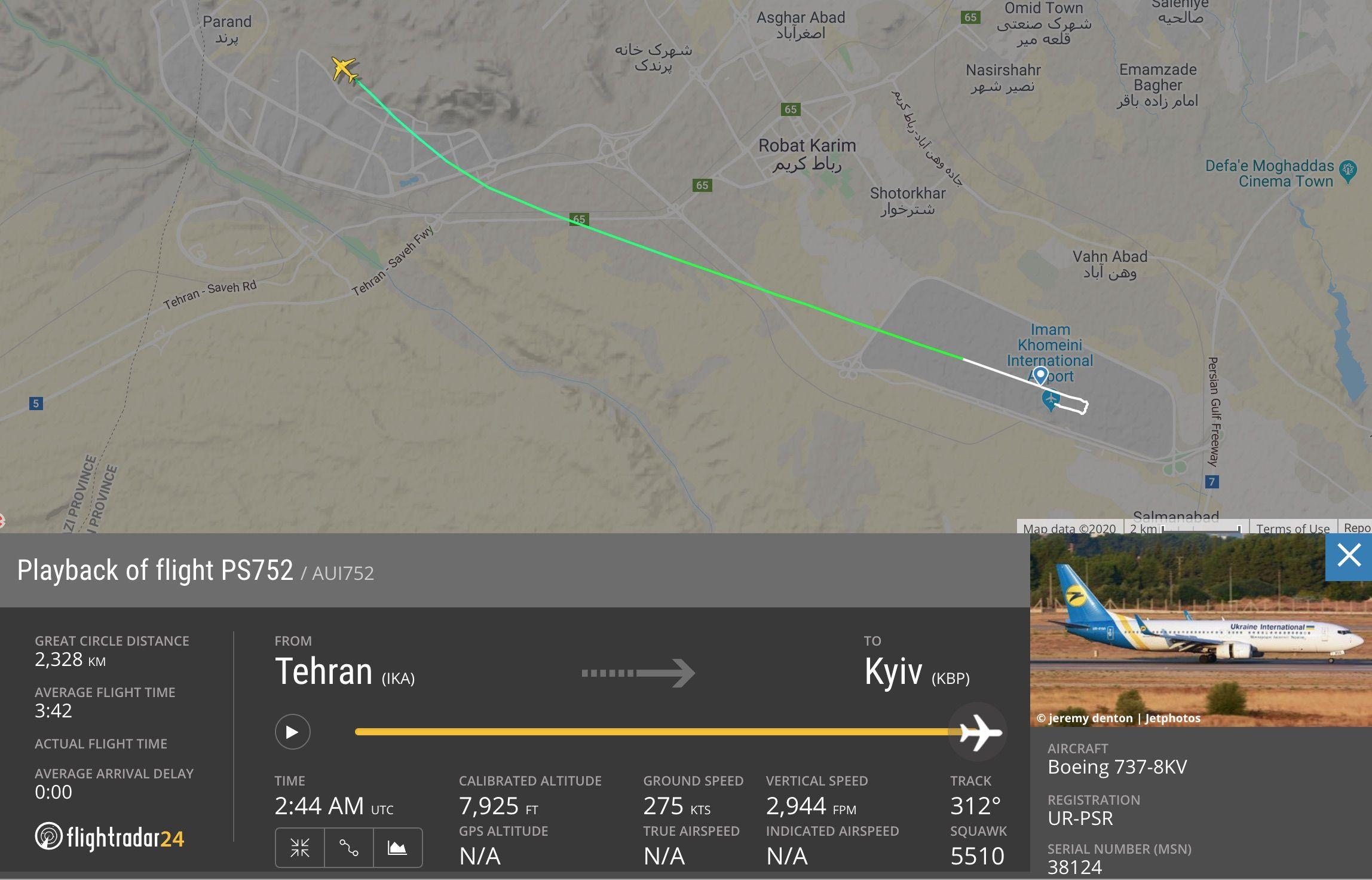 Ukraine International Airlines Flight 752 A Boeing 737 800