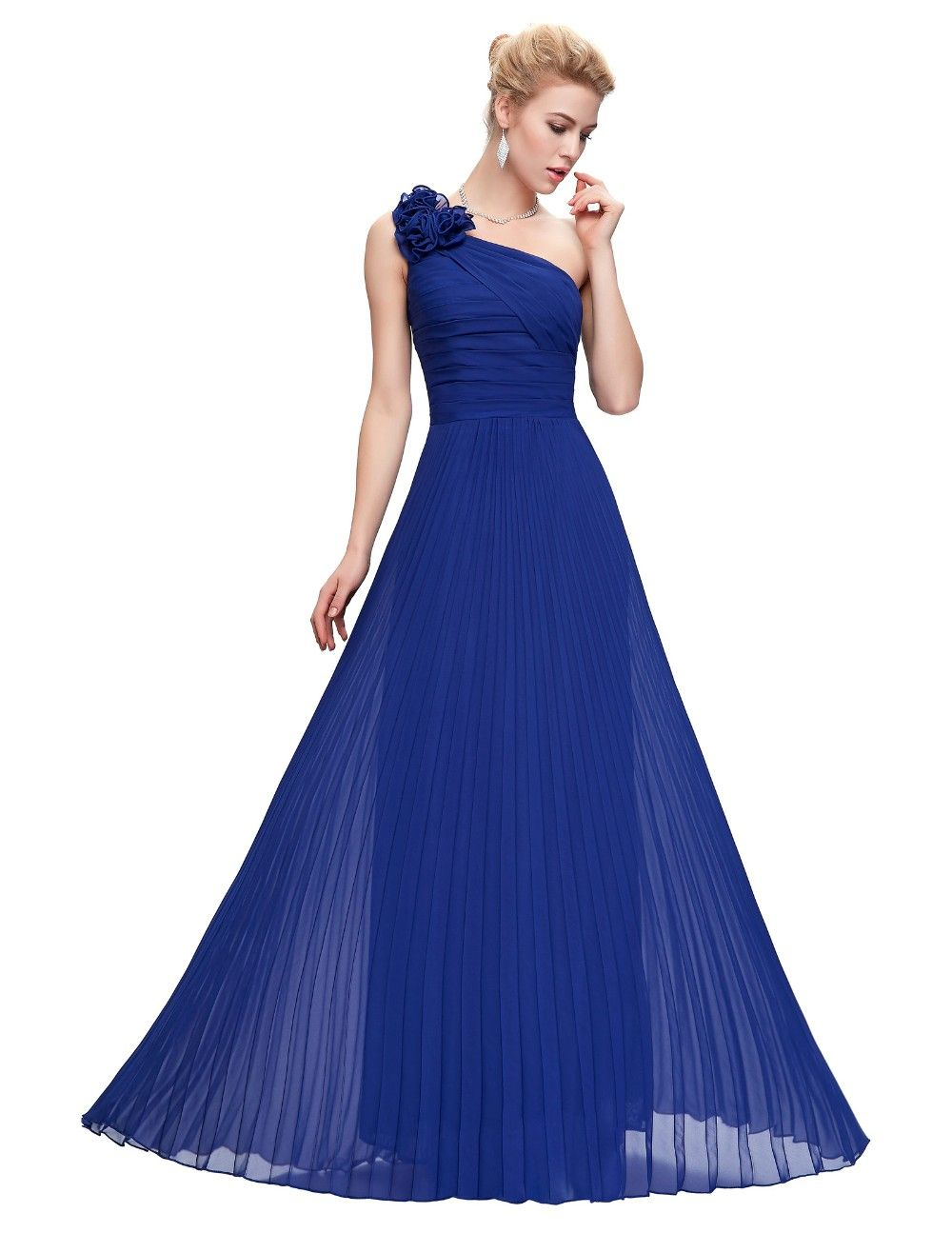 One shoulder pleated red green purple royal blue chiffon long