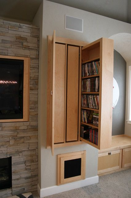 Pull Out Media Storage Behind Doors Home House Warm Modern