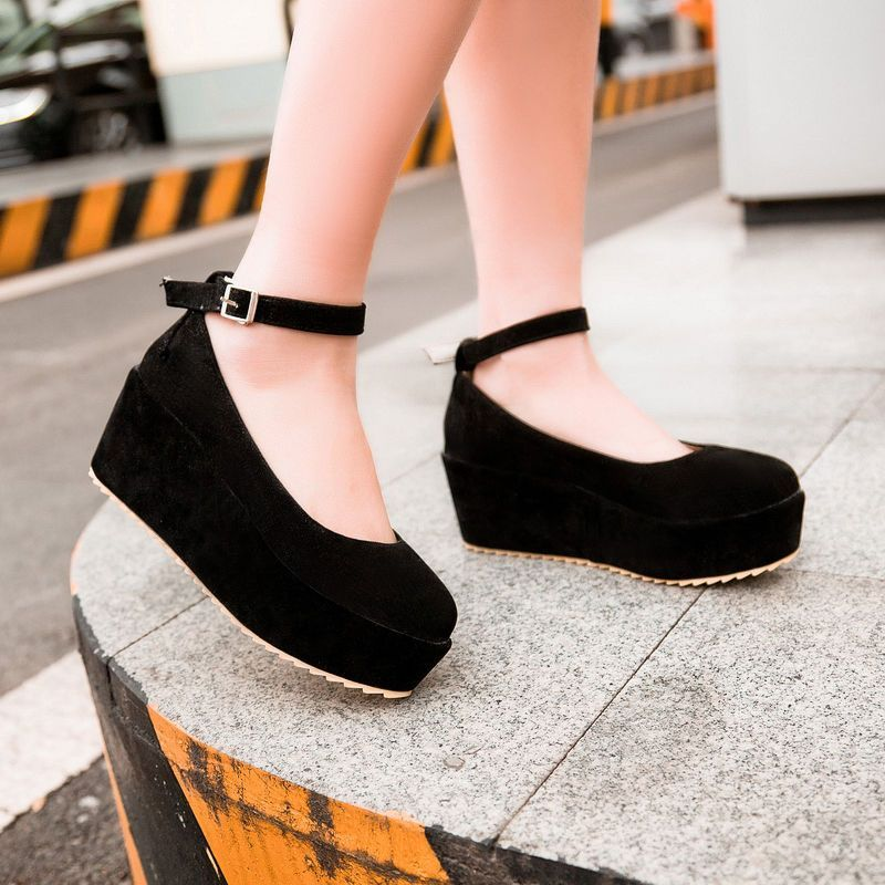 New Girl's Fashion Ankle Strap Goth Wedge Creeper Platform Round ...