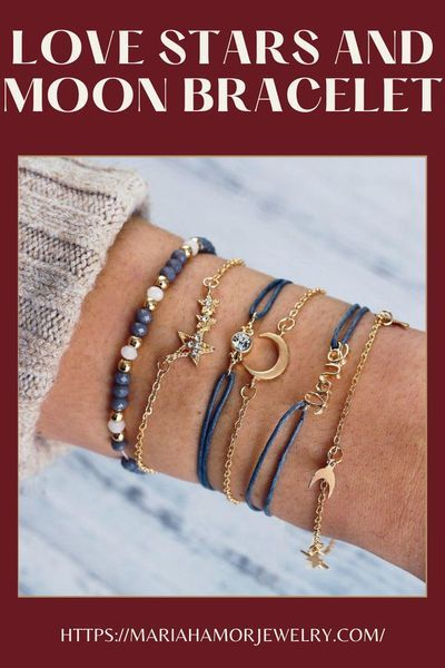 Get a special piece of jewelry from Mariah Amor Jewelry that is decorated with Blue and Yellow gold Love Stars and Moon bracelet set. #patterns #gold #friendship #charm #gold #trendy #delicate #trendy
