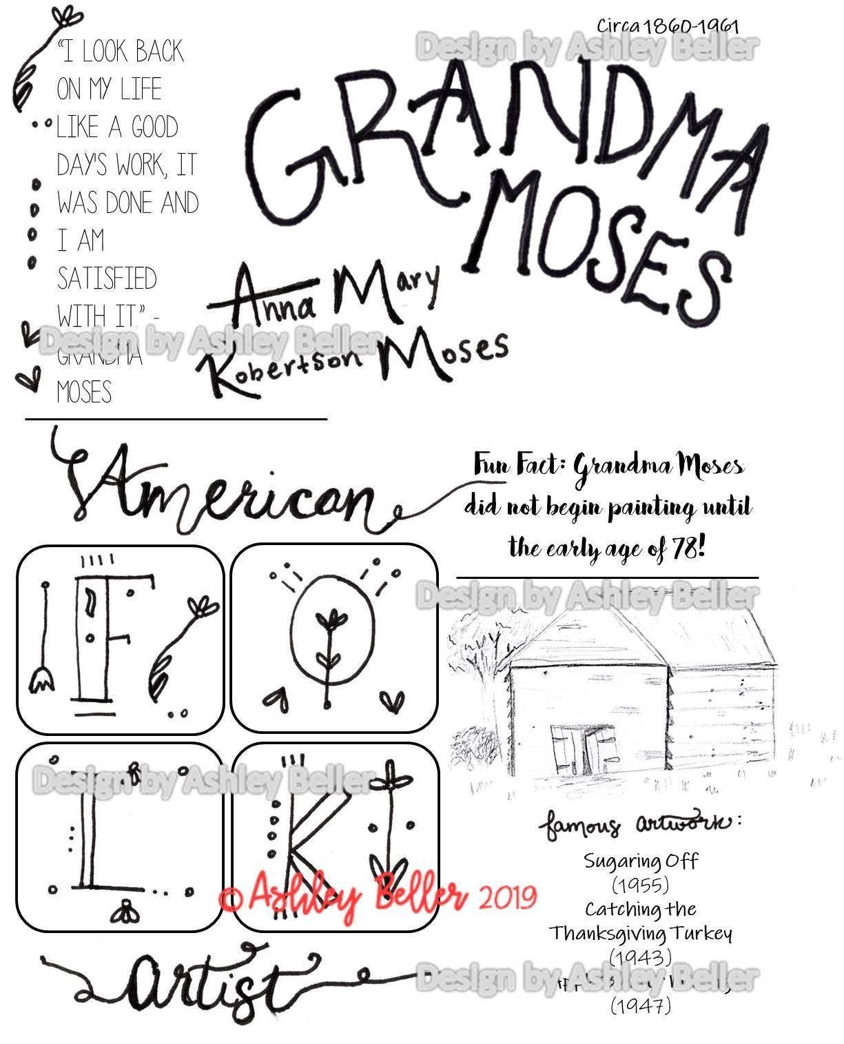 Grandma Moses Great Artist Color Sheet Cycle 3 Grandma