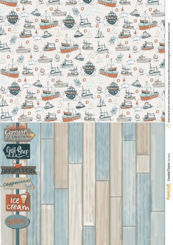 Free coastal printable papers from Papercraft Inspirations