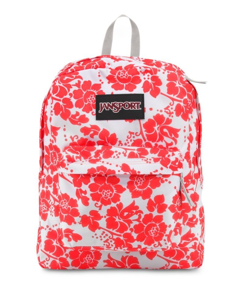 jansport fluorescent red floral fun black label superbreak for ...