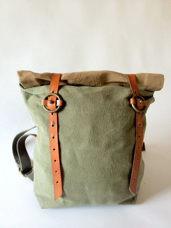 Waxed Canvas Roll Top Backpack by fortunamonsoonshop on Etsy, $125.00