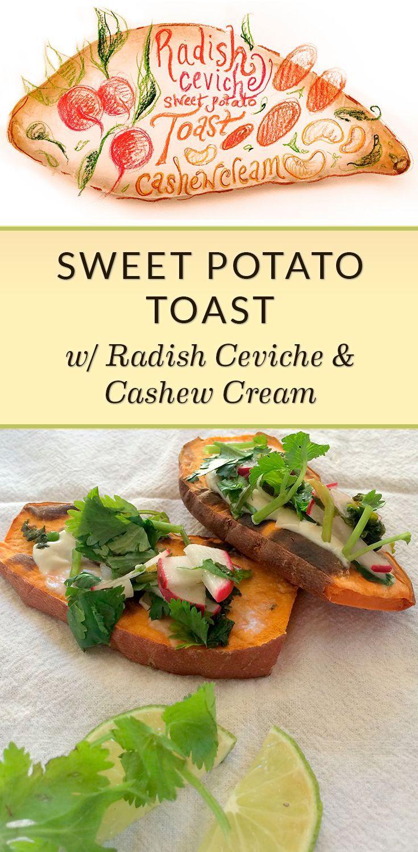Sweet Potato Toast With Radish Ceviche And Cashew Sour Cream