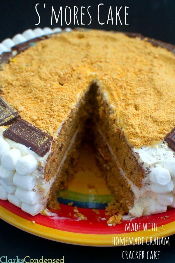 A melhor S'mores Cake - feita com um bolo caseiro Graham biscoito e creme de manteiga marshmallow geada