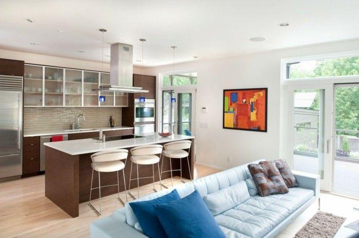 wohnküche in braun mit wohnbereich mit hellblauem sofa | küche ... - Sofa Für Küche