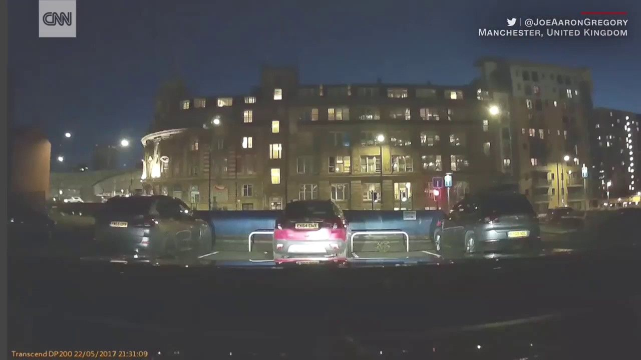 Dashcam captures moment of Manchester explosion The moment of the reported explosion at a Manchester UK arena can be seen and heard from this dashcam video.