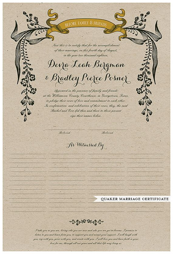 Wedding Certificate Quaker Marriage Certificate Wedding Guest