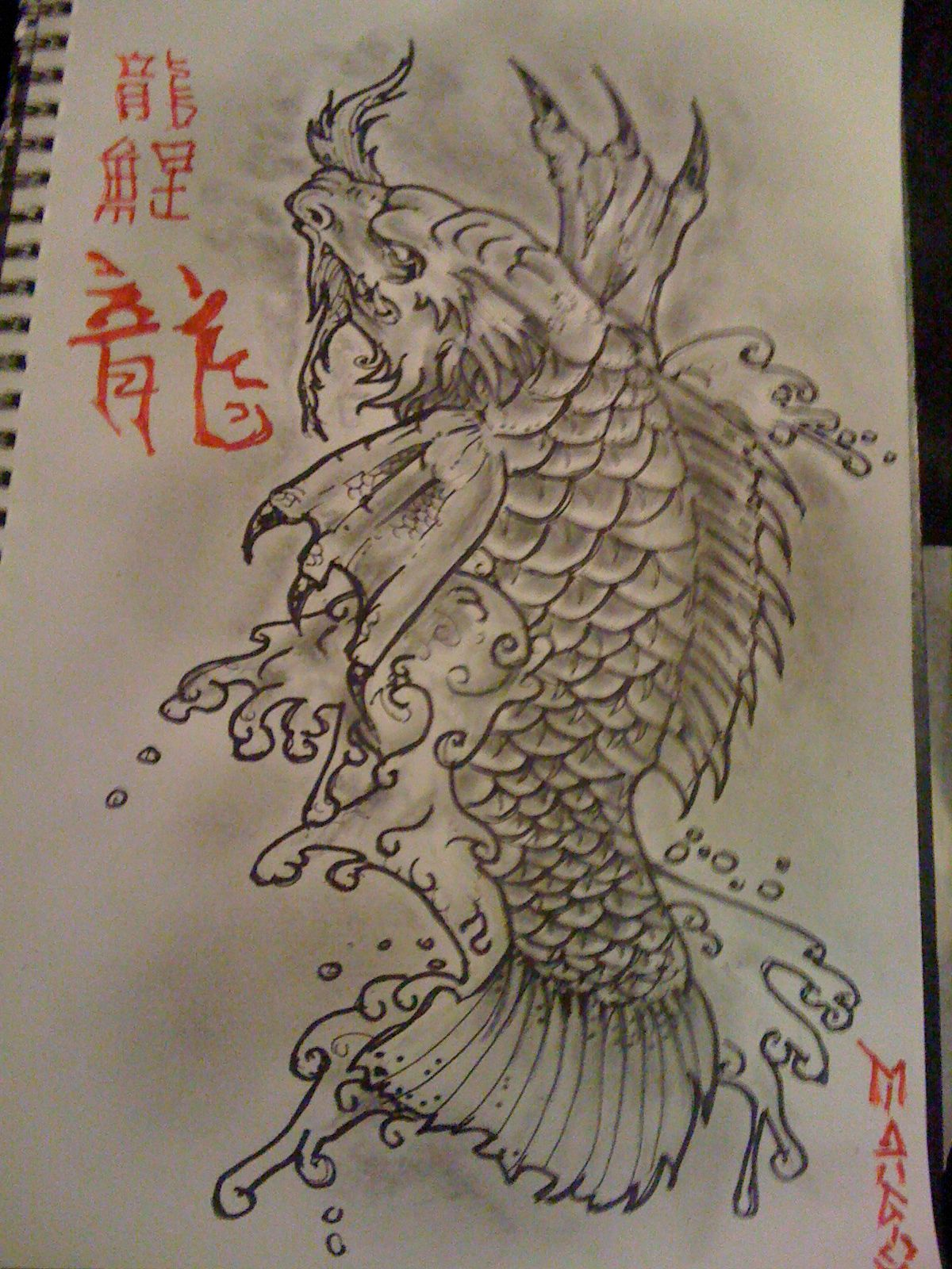 Koi Dragon Tattoo Design Pencil And Ink Koi Dragon Tattoo Dragon Tattoo Drawing Tattoo Designs