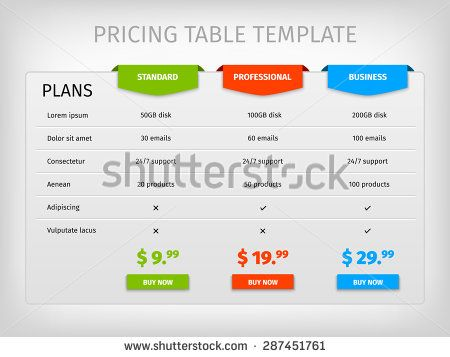 stock-vector-comparison-of-services-web-pricing-table-template-for - comparison chart templates