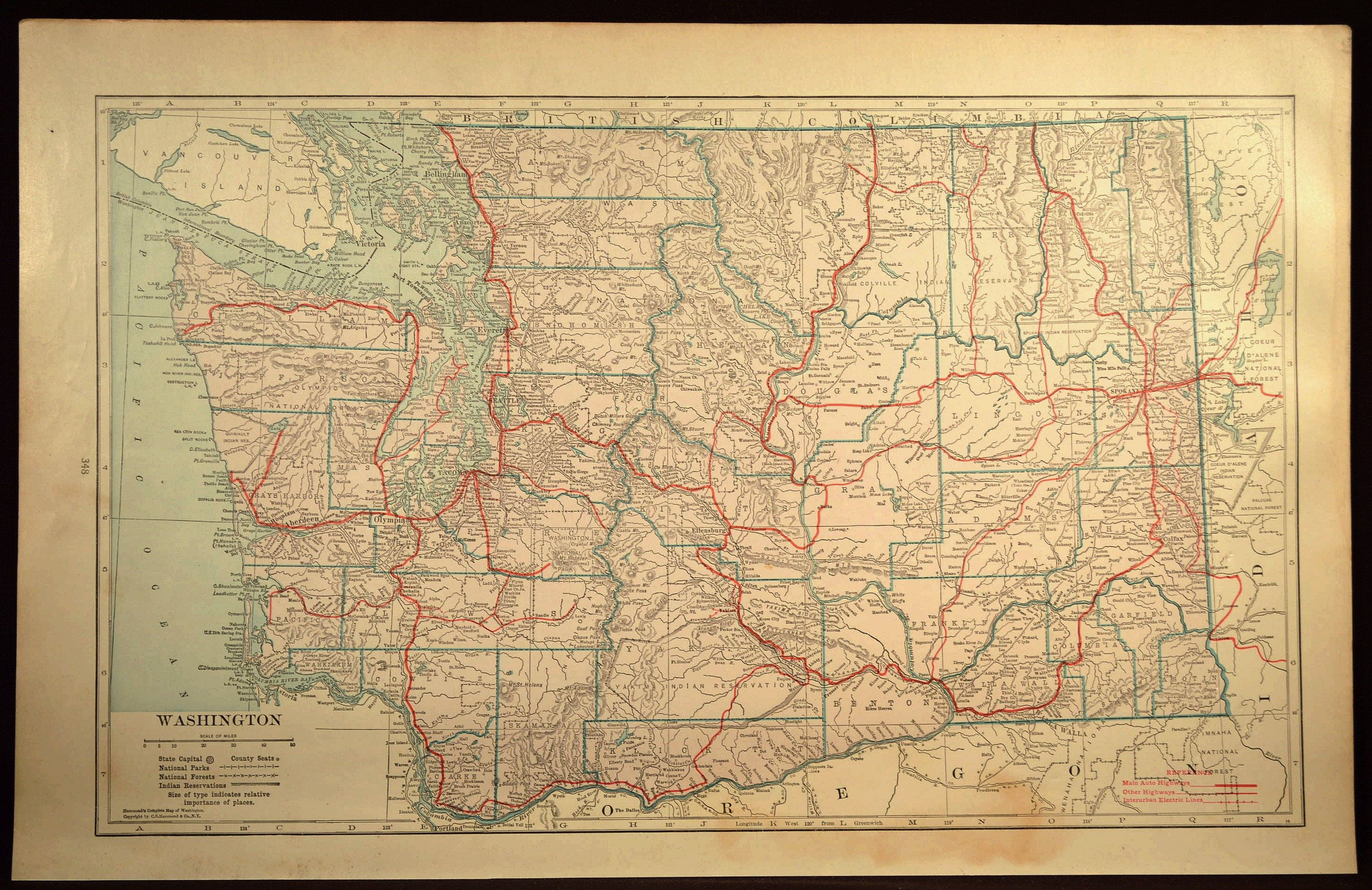 Washington Map LARGE Washington Road Map Highway Wall Art | Map Wall ...